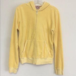Juicy Couture Velour Jacket Yellow Zip Hood XL